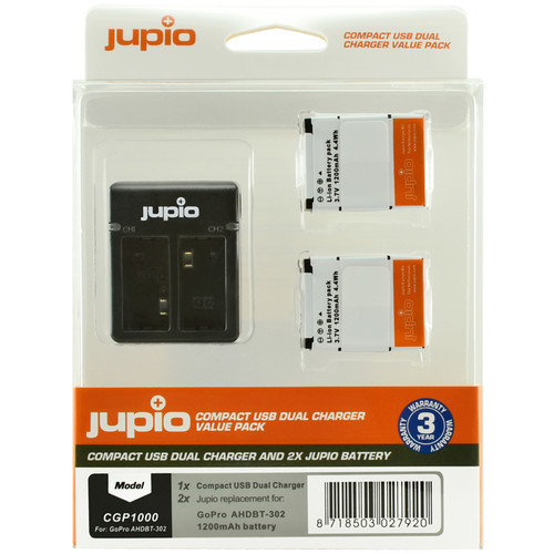 Jupio 2x Battery GoPro AHDBT-302 HERO3+ 1200mAh + Compact USB Dual Charger