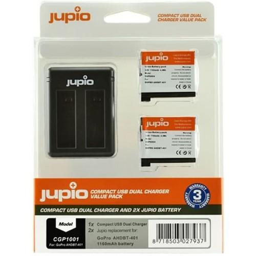 Jupio Kit: 2x Battery GoPro AHDBT-401 HERO4 1160mAh + Compact USB Dual Charger