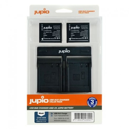 Jupio Kit: 2x Battery DMW -BLG10 900mAh + USB Dual Charger