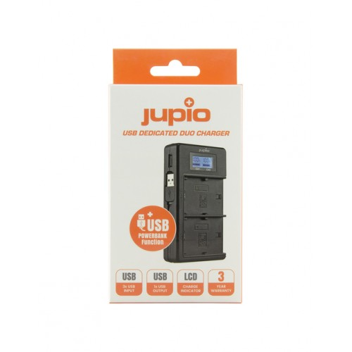 Jupio USB Dedicated Duo Charger LCD for Sony NP-FM50, NP-F550/F750/F970